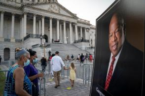 Government officials and the public honored the late U.S. Rep. John Lewis at the Capitol Rotunda. (Drew Angerer/Getty Images)