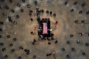Government officials and the public honored the late U.S. Rep. John Lewis at the Capitol Rotunda. (Jonathan Ernst - Pool/Getty Images)