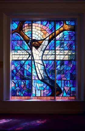 The famous Wales Window at 16th Street Baptist Church was donated by the people of Wales in sympathy after the church was bombed in 1963. (Alabama Power Foundation)