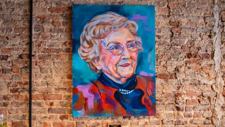 In the middle of it all, a large, beautiful painting of Helen, by Charleston, South Carolina, artist Hannah Hurt, has a place of honor here. It was a gift to Rob from his sisters. (Dennis Washington / Alabama NewsCenter)