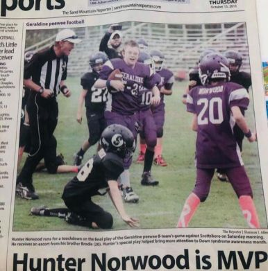 Hunter and his younger brother Brodie (No. 20) made the paper in 2015, when he scored a winning touchdown. (Courtesy of Michelle Norwood)