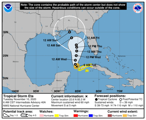 The latest forecast has Tropical Storm Eta making its next landfall near the Florida and Alabama border. (NHC)