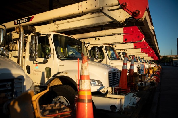 Alabama Power's Fleet Services ensures line crews have vehicles and equipment ready to go every day during a multiday restoration like Hurricane Zeta. (Alabama NewsCenter staff)
