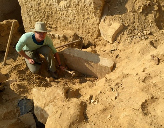 Sarah Parcak excavates a nobleman's tomb from ancient Egypt's Middle Kingdom discovered using satellite imagery. (GlobalXplorer)