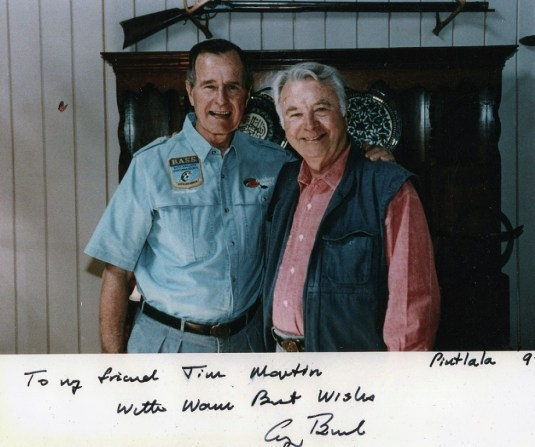 James Martin with President George H.W. Bush in 1992. The two men shared a love of bass fishing, and Bush repeatedly visited Alabama to fish. (contributed)