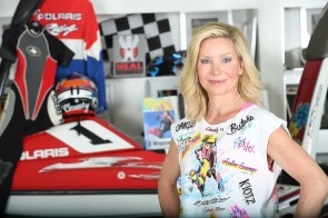 Christy Swaid displays memorabilia from her days as a world champion jet ski racer, when she was known as Christy Carlson. (contributed)