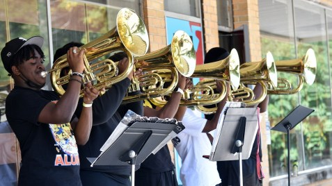 Band members practice at Talladega College. The possibility that football will return to the school's athletic programs has created a buzz on campus. No decision will be made on the idea until at least next year. (Solomon Crenshaw Jr. / Alabama NewsCenter)