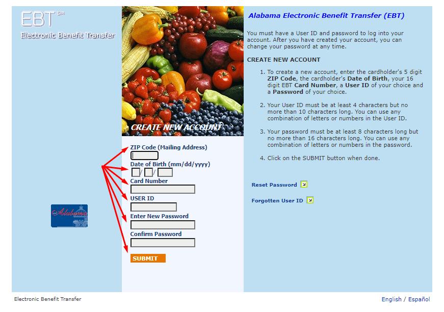 Create Connect EBT Alabama Online Account