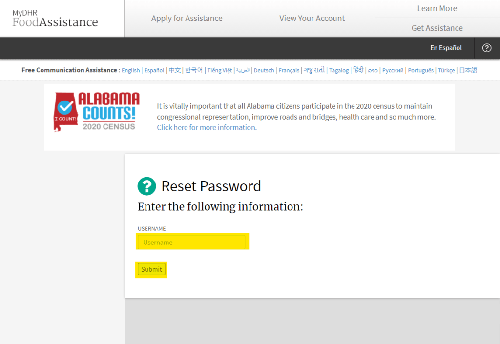 Reset MyDHR Alabama Password