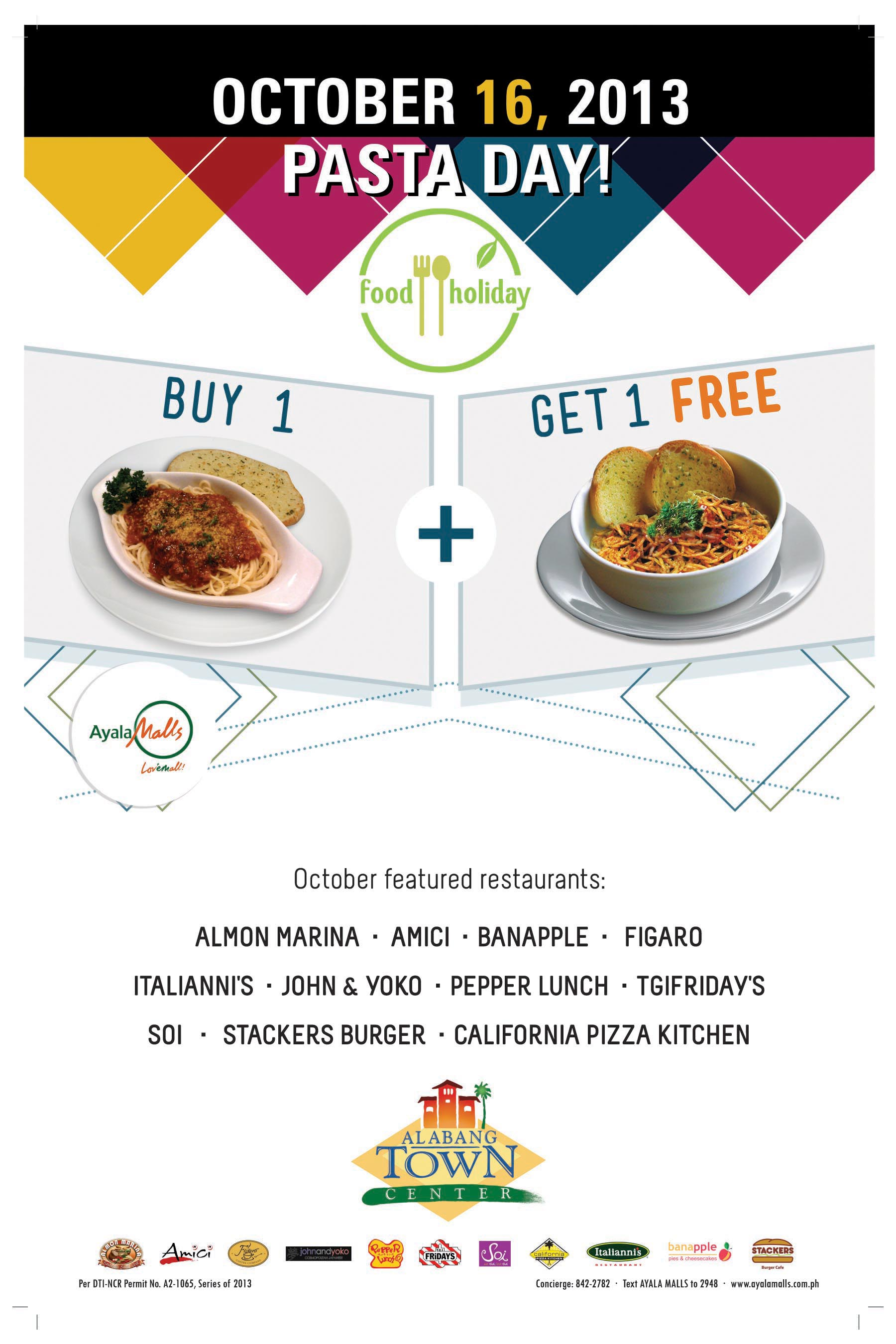 October 16 is Pasta Day at Alabang Town Center! Buy 1, Get 1 FREE ...