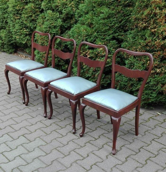 Krzesła art deco ze srebrną tapicerką