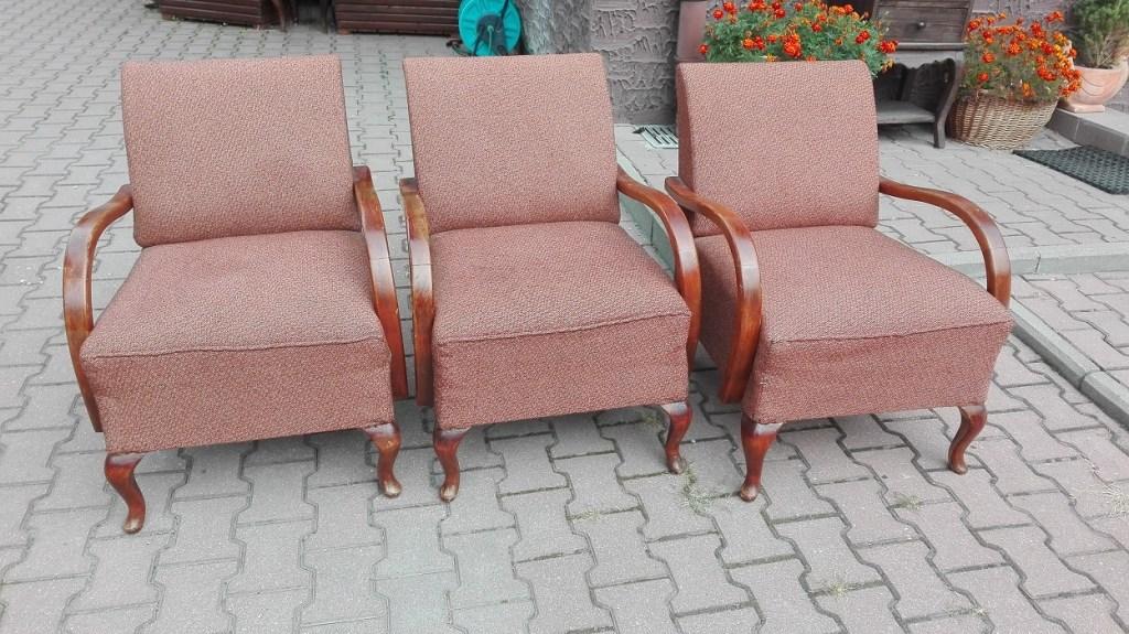 Fotele art deco z giętymi podłokietnikami