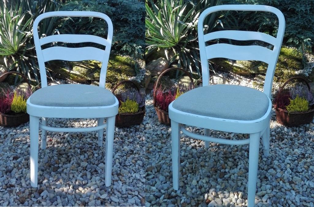 Krzesło po przemalowaniu na biało