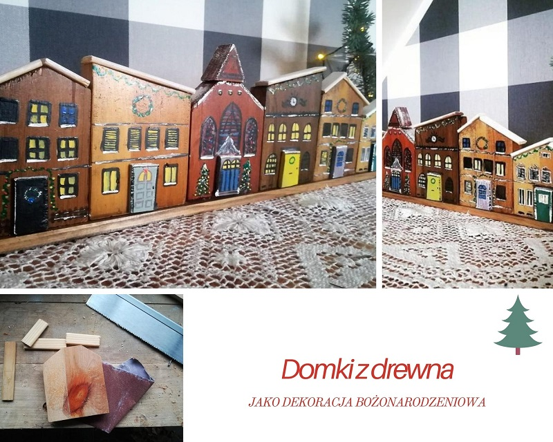 Kamieniczki z drewna jako dekoracja na Boże Narodzenie