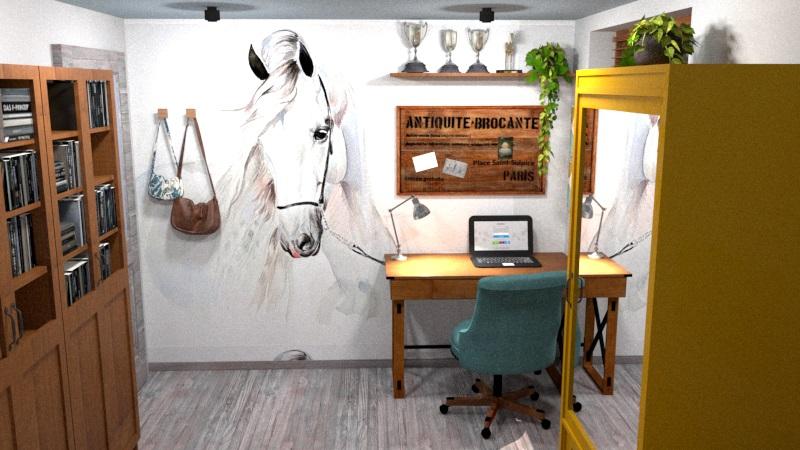 Pokój nastolatki z tapetą z koniem