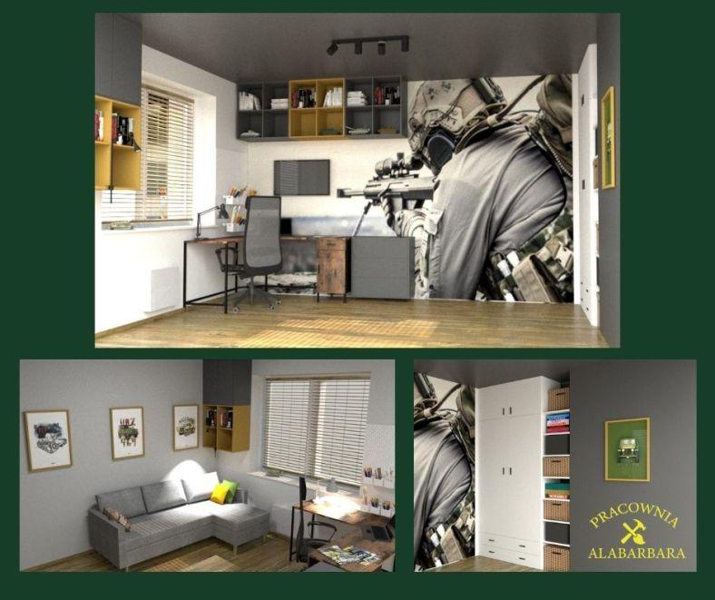 Pokój chłopca w stylu militarnym wojskowym