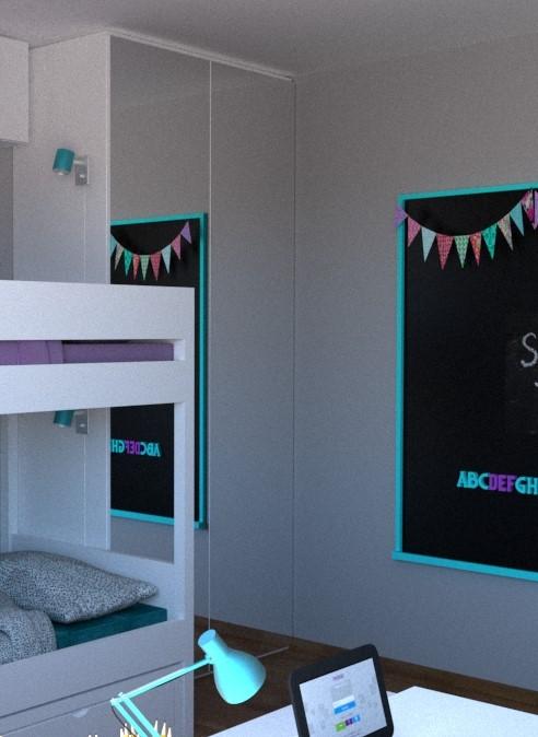 szafa z lustrzanymi forntami w pokoju dziecięcym projekt