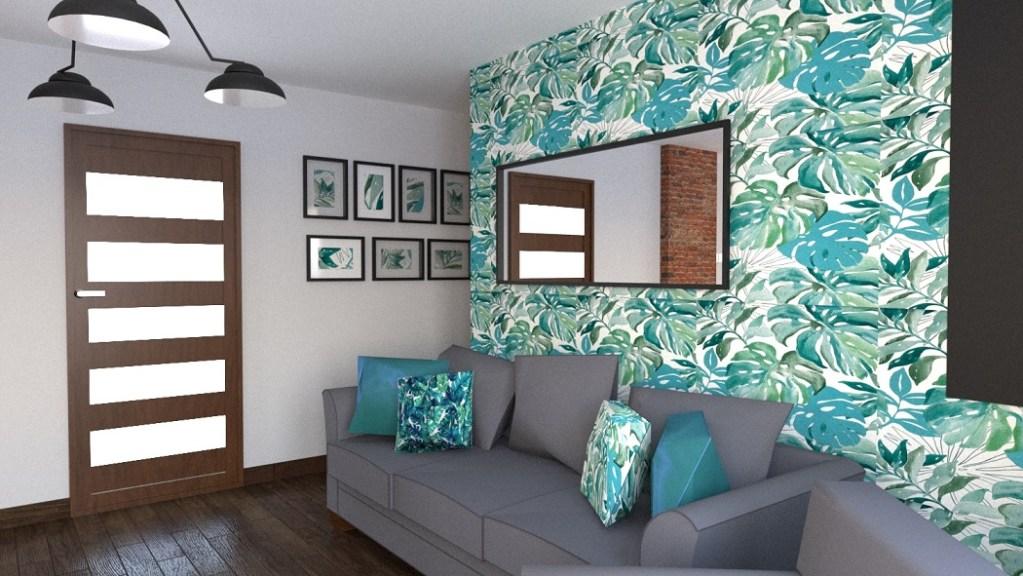 salon w stylu modern loft - projekt wizualizacja