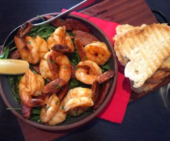 Smokey paprika prawns, chorizo and rocket with grilled house-made bread