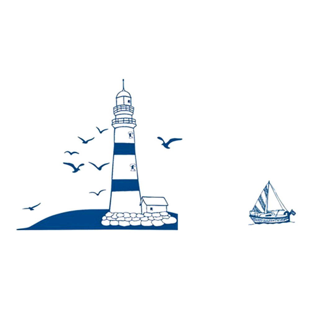 Hajó, világítótorony, vitorlás dekor öntapadó matrica