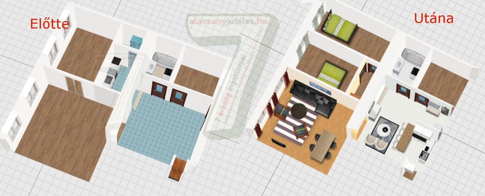 Belvárosi polgári lakás extra hálószobával