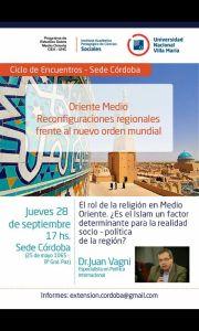 Conferencia - El rol de la religión en Medio Oriente - 28-09 - 17 hs. UNVM (Sede Córdoba)