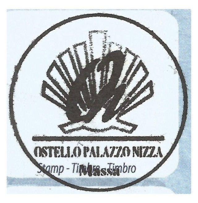 Massa. Sello del Ostelo Palazzo Niza.