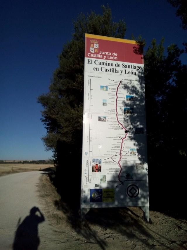 Cartel informativo. Fin de Burgos, principio de Palencia