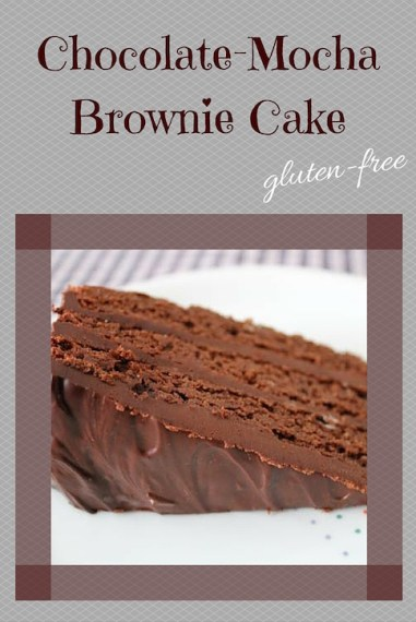 This gluten-free chocolate mocha brownie cake is serious stuff. Ground almonds and corn starch in place of flour, and espresso-chocolate ganache for a filling.