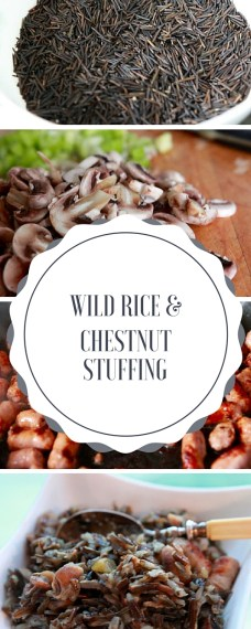 Wild rice stuffing with sausage and chestnuts is a perfect gluten-free alternative to the traditional stuffing. Pin ahead for Easter, Thanksgiving or Christmas!