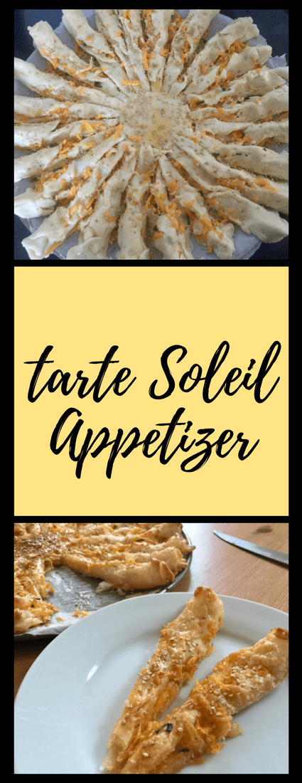 This tarte soleil appetizer works with gluten-free crust and you can vary the filling (pesto, pizza, ham and cheese, etc.)