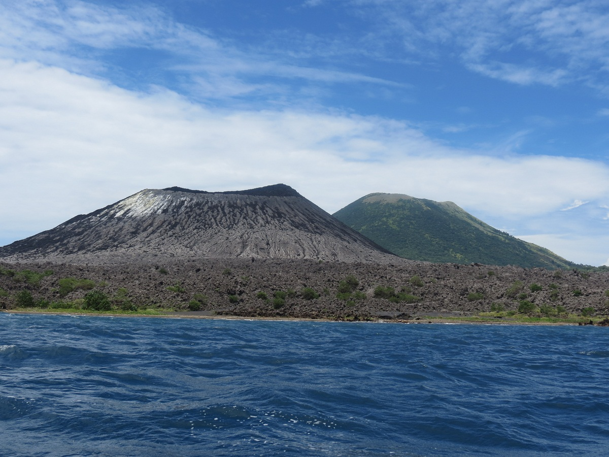 Spot the difference: Mt Tavurvur (on the left) erupted just weeks ago