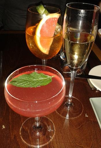 Heddon Street cocktails Brits Spritz, Love Potion No. 9 and champagne