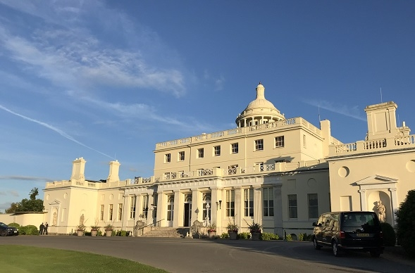 front of Stoke Park luxury hotel