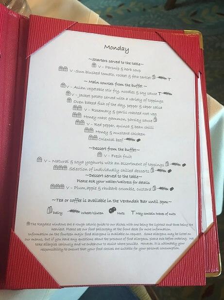 dinner menu at Ragdale Hall spa