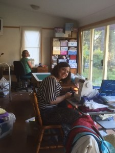 Katie and Lauren sewing