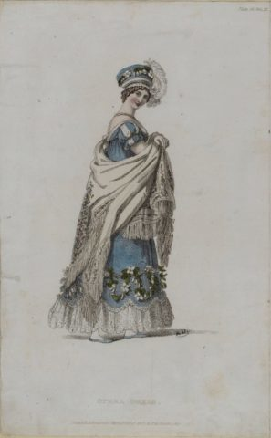 Blue opera dress from Ackermann, 1817