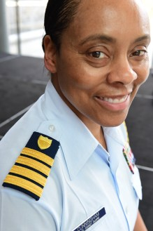 Washington, DC - Lucindia Cunningham is recognized as the first African American female to be promoted to cCaptain in the U.S. Coast Guard during a her frocking ceremony held today. U.S. Coast Guard photo by Telfiar H. Brown, Sr.