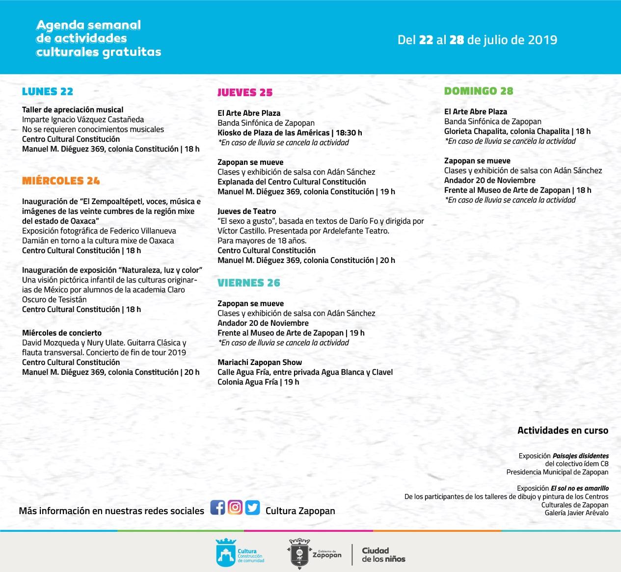 Agenda semanal de actividades culturales Zapopan