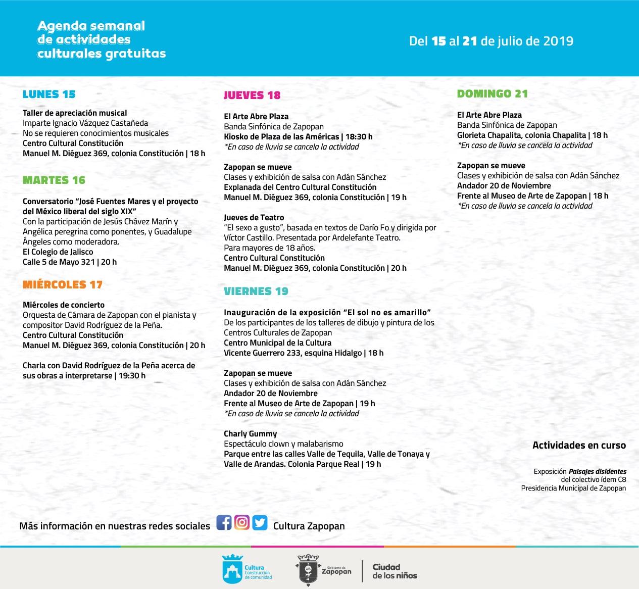 Agenda de actividades culturales gratuitas en Zapopan