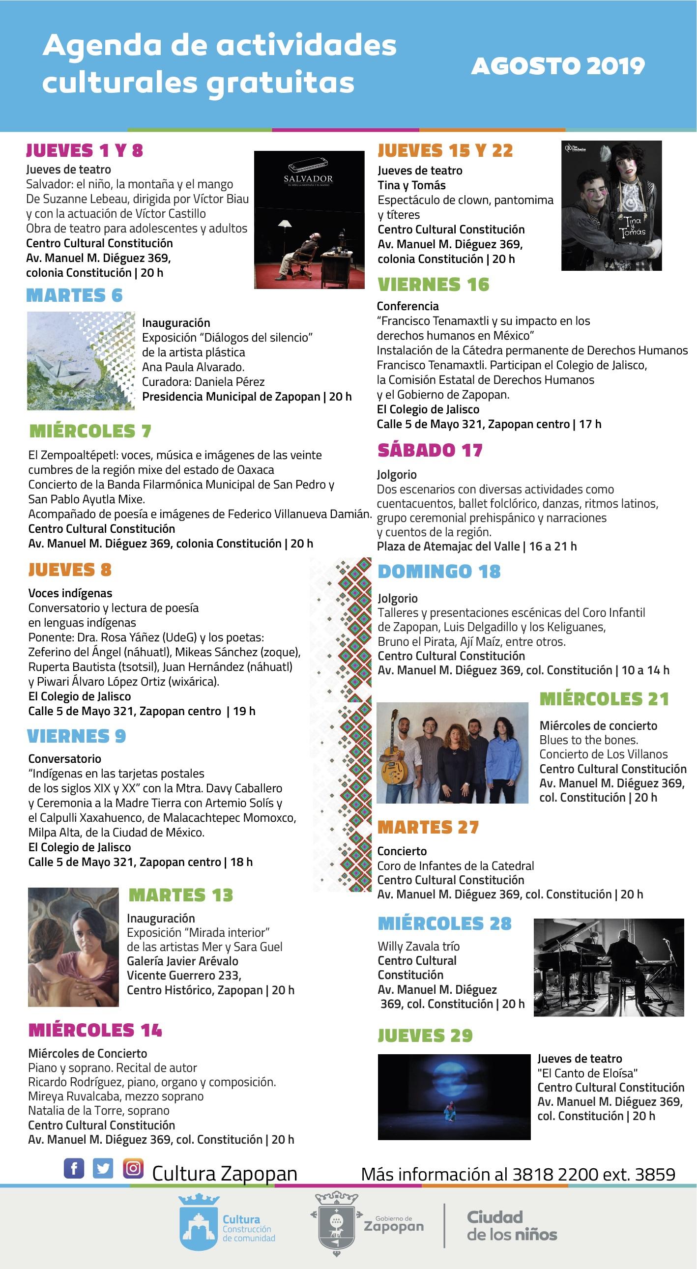 Agenda de actividades culturales gratuitas de agosto en Zapopan