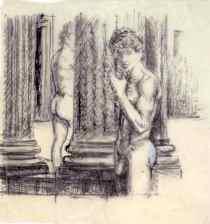 """(ill. 2) Dessin préparatoire pour """"Murmure"""", crayon graphite sur papier"""