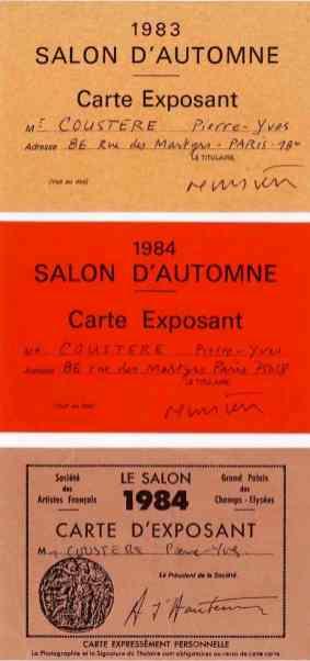cartes d'exposant, Salon des Artistes français (1984) ; Salon d'Automne (1983, 1984), recto