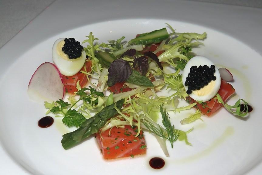 Starter 1 - Marinated Trout, Red Radish and Pomegranate, Quail Egg, Caviar