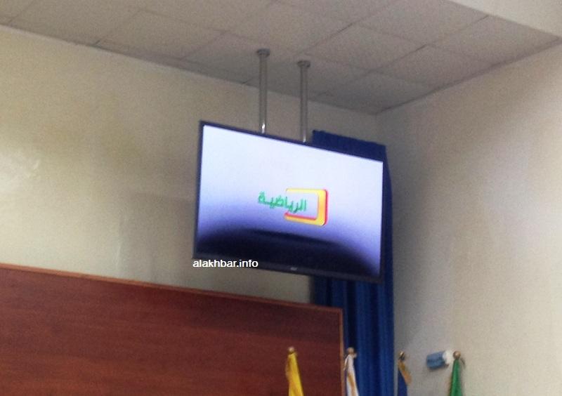 الشعار الأولي للقناة الرياضية الجديدة خلال استعراضه في المؤتمر الصحفي مساء اليوم (الأخبار)