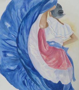 Coasta Rican Dancer: Watercolor