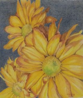 """""""Sumer Flowers,"""" colored pencil"""