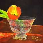 Tulip in a crystal bowl