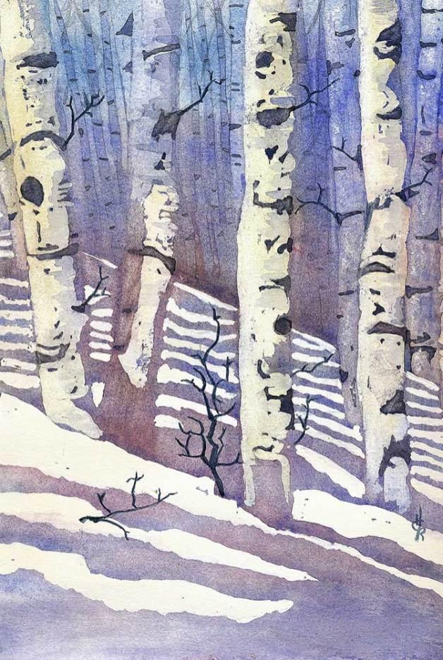 """Birch Trees,"" watercolor, 8x12"