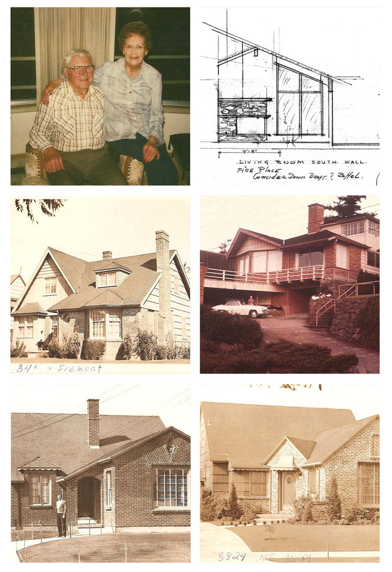 A collection of images relating to Ken Birkemeier. Top left, Ken and his wife of 50 years Marge. Photos and drawings courtesy of Dan Birkemeier.